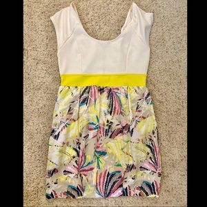 Forever 21 White and Yellow Dress L